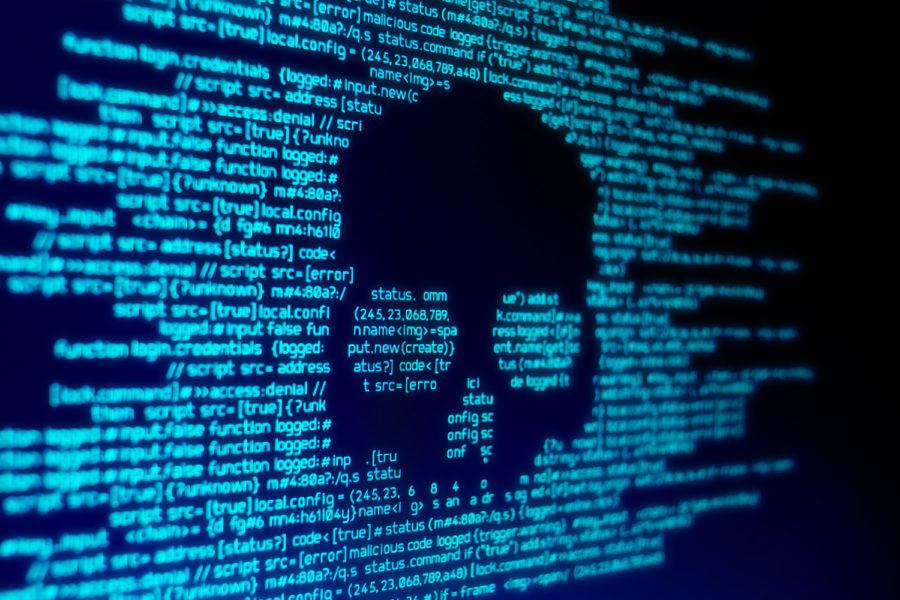 Calavera sobre código web