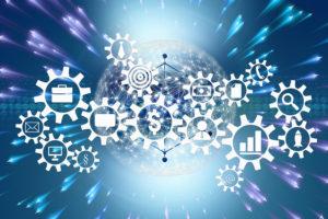 engranaje, mundo, digitalización, transformación digital