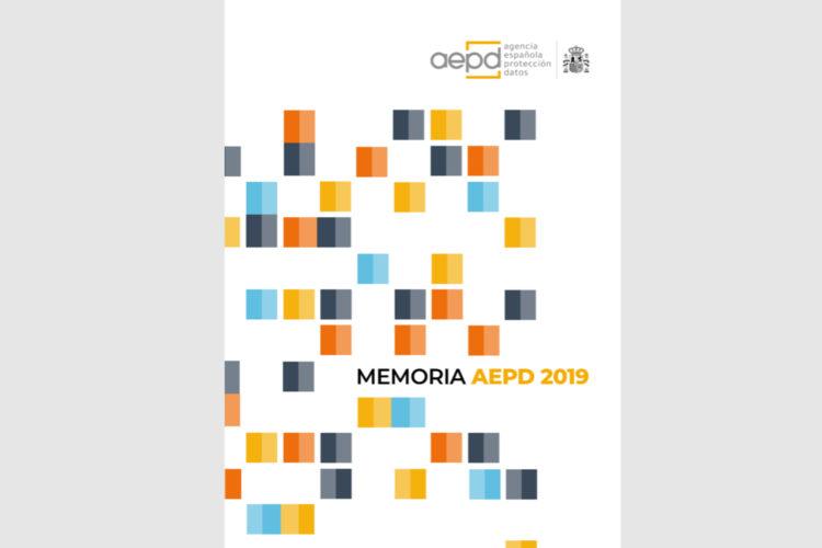 Portada de la Memoria 2019 de la Agencia Española de Protección de Datos (AEPD).