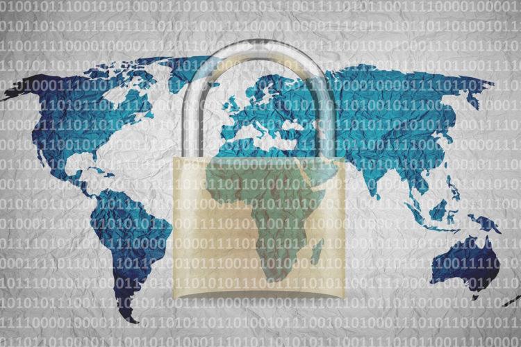 Seguridad, ciberseguridad, candado, mundo