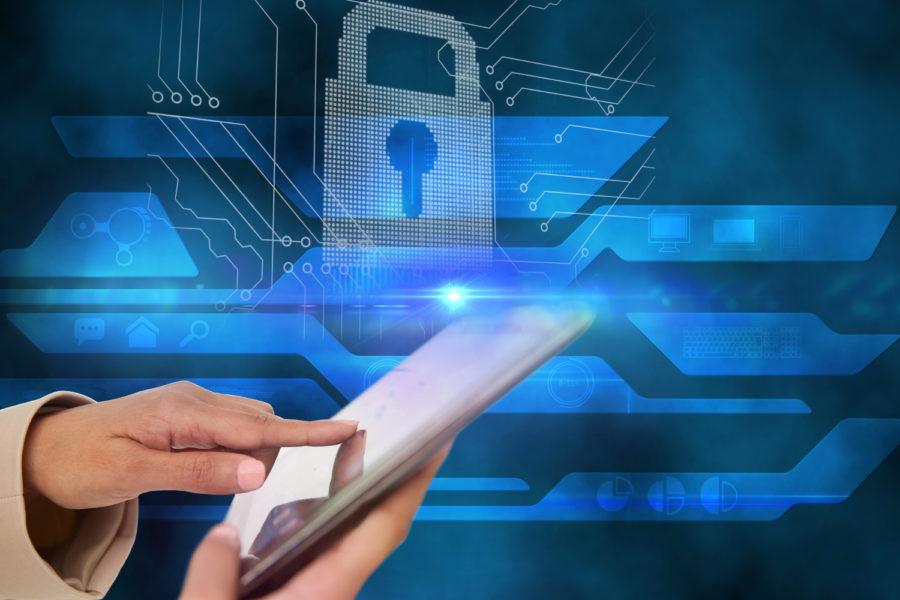 Seguridad, ciberseguridad, tableta, candado
