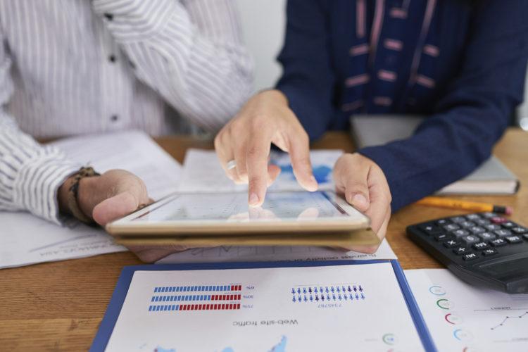 Empresa, oficina, tablet
