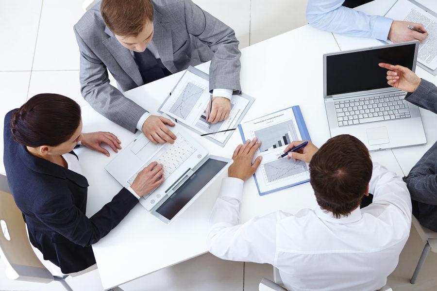 Oficina, compañeros, reunión, empresa