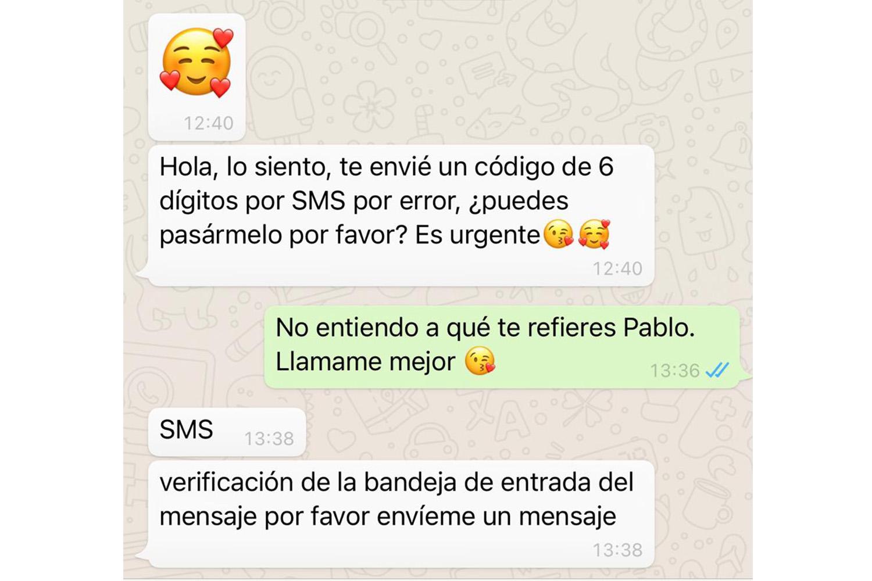 Ejemplo de un intento de secuestro de WhatsApp.