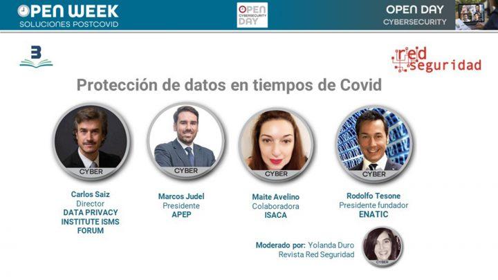 """Mesa de expertos en ciberseguridad """"Protección de datos en tiempos de Covid"""". Cybersecurity Open Day 2020."""
