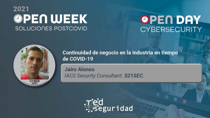 Jairo Alonso, IACS Security Consultant de S21Sec. Cybersecurity Open Day 2021.