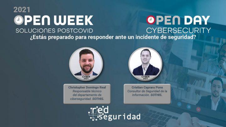 Christopher Domingo Real, responsable técnico del departamento de ciberseguridad de Sothis, y Cristian Capraru Pons, consultor de Seguridad de la Información de Sothis. Cybersecurity Open Day 2021.