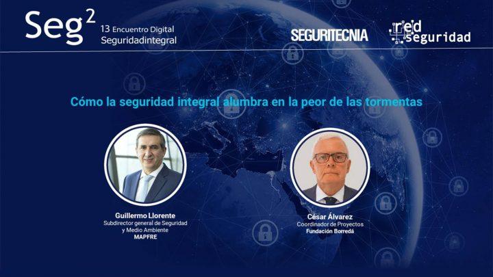 Guillermo Llorente, subdirector general de Seguridad y Medio Ambiente de Mapfre; yCésar Álvarez, coordinador de proyectos de laFundación Borredá.